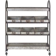 Features:  -Casual Country collection.  -Material: Metal.  -4 Tier.  -Rolling.  -Comes with wheels and 6 bins.  Frame Finish: -Black.  Top Finish: -Grey.  Distressed: -Yes.  Frame Material: -Metal.  T