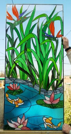 Stained glass Panel  Asian Paradise P34 by TerrazaStainedGlass, $1782.00