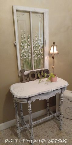 Old painted table,shabby chic decor,painted furniture,white occasional table,distressed white table,small table,entryway table,chalk paint by RightUpMyAlleyDesign on Etsy