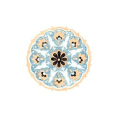 Circular ornament with blueish-gray background, orange border, floral design, and lanceolate foliage Cc Images, Old Books, Gray Background, Floral Design, Book Illustrations, Ornaments, Orange, Gallery, Patterns