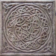 "$80  12""x12"" Handmade relief carved Celtic knot ceramic tile by earthsongtiles"