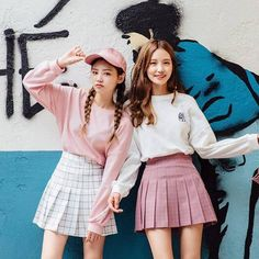 Designer Clothes, Shoes & Bags for Women Korean Street Fashion, Korea Fashion, Ulzzang Fashion, Ulzzang Girl, Twin Outfits, Cute Outfits, Cute Fashion, Pink Fashion, Matching Outfits Best Friend