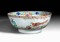 A Chinese 'Famille-Rose' Porcelain 'Golden Pheasant' Punch Bowl, Qing Dynasty, Qianlong Period : The British Antique Dealers' Association