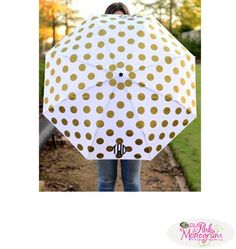 April showers bring May flowers Don't get caught out in the rain this year with out the cutest umbrella selection every We have our new gold dot. So cute that we all want one here! Just 42 dollars. www.thepinkmonogram.com