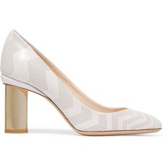 Nicholas Kirkwood - Briona Prism Perforated Leather Pumps (940 PEN) ❤ liked on Polyvore featuring shoes, pumps, white, perforated leather shoes, white leather shoes, white slip on shoes, high heel shoes and white graduation shoes
