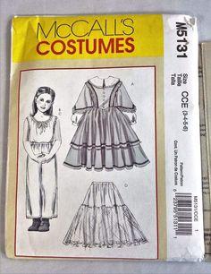 McCall's Costumes Pattern M5131 Children Girls Historical Uncut 2006 Size 3 - 6 #McCalls