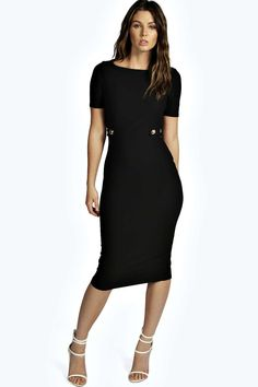 Cut Out Button Detail Midi Bodycon Dress black