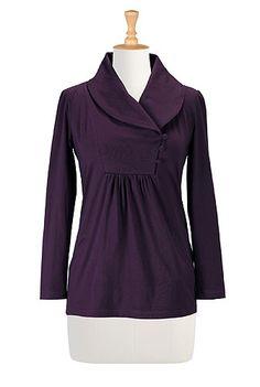 eShakti Shawl collar knit tunic