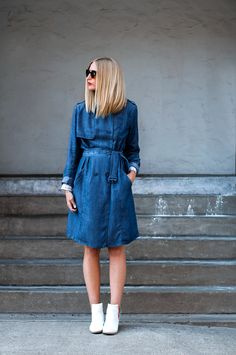 Street Style Stars Are Trading Their Denim Jackets for Denim Coats | StyleCaster