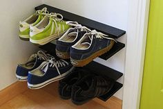 Make a floating shoe rack. | 33 Ingenious Ways To Store Your Shoes