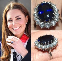 Kate Middleton's gorgeous gemstone engagement ring! This was Princess Diana's engagement ring from Prince Charles.