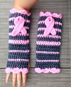 Gray Pink Breast Cancer Awareness Fingerless Gloves Wristers Removeable Emblems on Etsy, $25.00