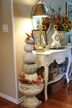 Pumpkin topiary! Thanksgiving Decorations, Seasonal Decor, Holiday Decor, Fall Decorations, Autumn Decorating, French Country Decorating, Decorating Ideas, Fall Vignettes, Pumpkin Topiary