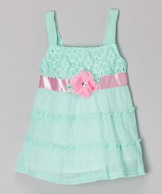 Look at this Sophie Fae Mint Floral Babydoll Dress - Girls on #zulily today!
