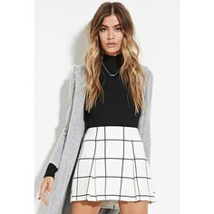 Forever 21 Forever 21 Women's  Pleated Grid Print Mini Skirt ($18) ❤ liked on Polyvore featuring skirts, mini skirts, white pleated skirt, forever 21 skirts, short skirts, white pleated mini skirt and print mini skirt