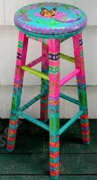 Image detail for -hand painted chairs, stools, benches, seating