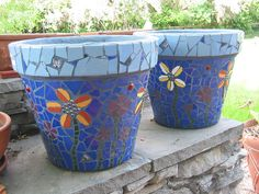 Beautiful Finished Mosaic Pots | Flickr - Photo Sharing!