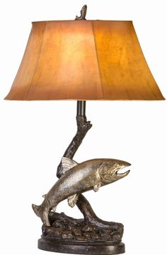 """Add a fishing theme to your home with this 27"""" Jumping Trout Table Lamp. The dual antique brass and bronze finish will enhance most any decor and the sculpted base is sure to be enjoyed by every angler. 