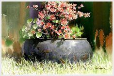 Beautiful paintings by Korean artist watercolorist Jong Sik Shin Gold Watercolor, Watercolor Landscape, Watercolour Painting, Watercolor Flowers, Art Et Nature, Ink In Water, Art Station, Korean Artist, Watercolor Techniques