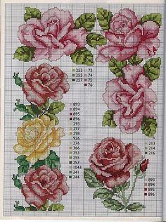 Cross-stitch Roses... Punto de Cruz GRATIS: Rosas Realistas