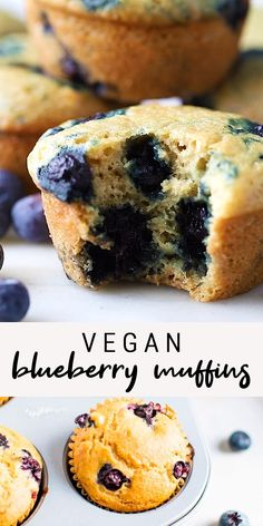 These vegan blueberry muffins are low-fat and oil free, but still perfectly moist, tender and really easy to make. These vegan blueberry muffins are low-fat and oil free, but still perfectly moist, tender and really easy to make. Vegan Blueberry Muffins, Healthy Muffins, Blue Berry Muffins, Vegan Blueberry Recipes, Low Fat Muffins, Mini Muffins, Vegan Foods, Vegan Dishes, Vegan Sweets