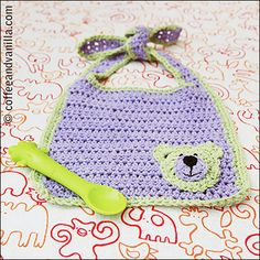 Baby Bib with Teddy Bear Motif - Crochet Pattern - Coffee and Vanilla. Replace the bear with a kitty, or monkey, or....endless ideas :)