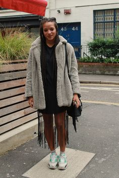 Fringing and fur in check. Shoreditch style