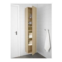"GODMORGON High cabinet, white stained oak effect - 15 3/4x12 5/8x75 5/8 "" - IKEA"