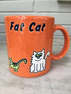 vintage Waechtersbach mug, FAT CAT coffee mug, orange, Germany, collectible by MotherMuse on Etsy