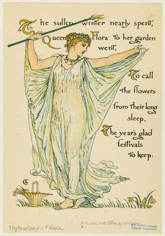 'Queen Flora' by Walter Crane (1845-1915). Illustration from 'Flora's Feast: a Masque of Flowers' (London Cassell 1889). NYPL Digital Gallery
