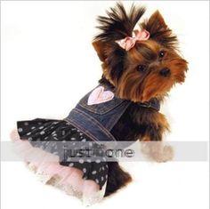 roupa vestido saia pet cachorro gato pequeno tecido de jeans
