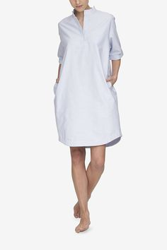 ab404c83cbe A white cotton nightshirt with a delicate grey stripe