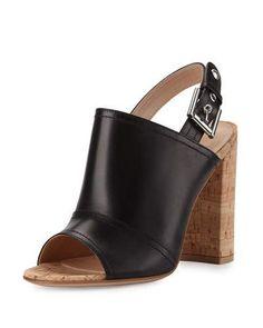S1UZJ Gianvito Rossi Sierra Leather Slingback Sandal, Black