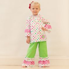 Lolly Wolly Doodle Multi Dot Lime Pants Set 9/6