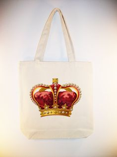 Vintage Red Royal Ornate Crown Canvas Tote with shoulder strap - larger zip top tote style and personalizaiton available