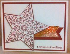 Christmas card - very CAS, using Bright & Beautiful Stamp set by Stampin Up and some hologrphic paper