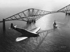 Spitfire over the Forth Rail Bridge Three Bridges, Old Bridges, The Forth, Edinburgh Scotland, Napa Valley, World Heritage Sites, Old Photos, Ww2, Around The Worlds