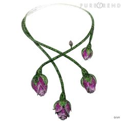 "Necklace ""Floral"" Chopard necklace in white gold paved with tsavorite 2834, 937 pink sapphires, rubies and 316 diamonds 446. Price on request www.chopard.com"