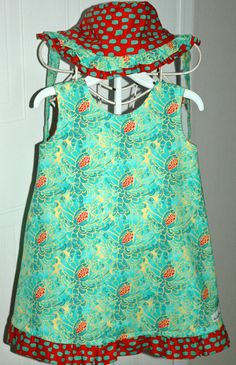 Reversible Dress bloomers and reversible hat size by mickiesmuse, $63.00