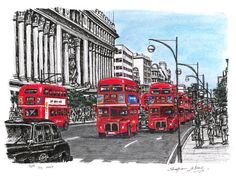 Red buses on Oxford Street