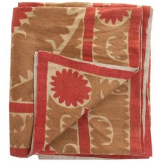 Vintage Uzbek Suzani Red/Tan