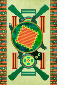 Native American Folk Art Turtle 3D Motif by Renee Lozen, Palm Harbor
