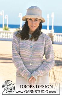 DROPS Cardigan in Passion and Muskat. Crocheted hat in Muskat. ~ DROPS Design