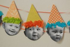 #DIY Baby Birthday Banner - share your babies adorable expressions at their #first #birthday #party.