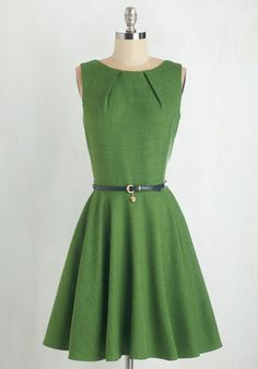 Luck Be a Lady Dress in Fern by Closet London - Green, Solid, Sleeveless, Belted, Woven, Best Seller, Work, Casual, Fit & Flare, Variation, Gals, Mid-length