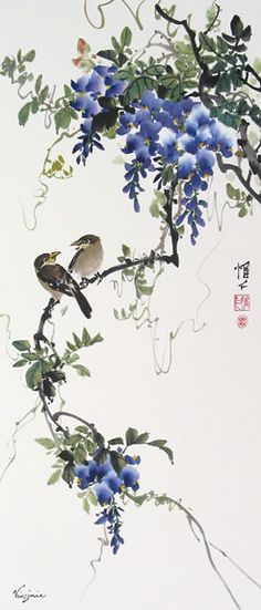 Beautiful painting idea. I like the birds and Wisteria flowers, my favorite flower.