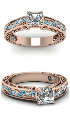Diamonds + Ice Blue Topaz + Rose Gold. Great combo, but can be customized. Check out website.