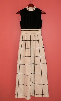 Vintage Dress 60s Mod Maxi Black and by PinkCheetahVintage on Etsy, $52.00