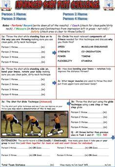 Athletics Challenge Cards – PE4Learning Pe Board, Pe Activities, Pe Lessons, Pe Class, Pe Ideas, Pe Teachers, Class Rules, Shot Put, Gym Classes