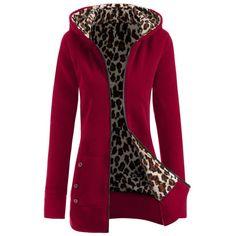 Thick Leopard Printed Inside Hoodie, WINE RED, XL in Sweatshirts & Hoodies | DressLily.com